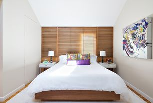 Contemporary Master Bedroom with High ceiling, Hardwood floors