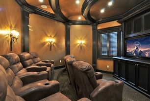 Traditional Home Theater with Exposed beam, Crown molding, flush light, Carpet