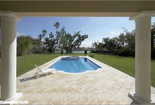 Traditional Swimming Pool with Fence, exterior stone floors, Pathway, Pool with hot tub