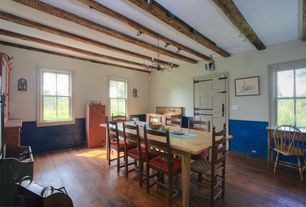 Country Dining Room with Exposed beam, Wainscotting, paint2, International Concepts Unfinished Wood Windsor Side Chair
