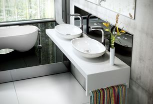 Contemporary Master Bathroom with Vessel sink, Corian counters, Master bathroom, Stainless Steel, Freestanding