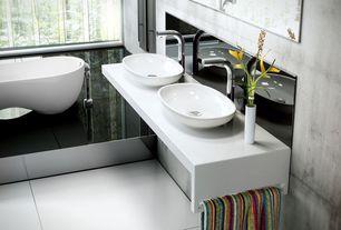 Contemporary Master Bathroom with Vessel sink, Master bathroom, Corian counters, full backsplash, Stainless Steel, Bathtub