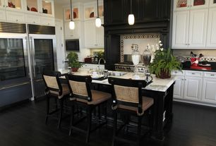 Traditional Kitchen with Standard height, Flush, specialty door, Breakfast bar, Custom hood, electric cooktop, L-shaped