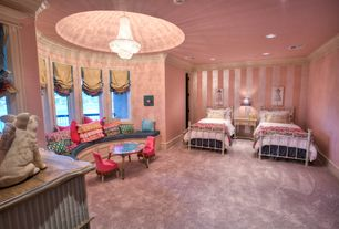 Traditional Kids Bedroom with Chandelier, Smith & noble relaxed roman fabric shades, French empire crystal chandelier, Carpet