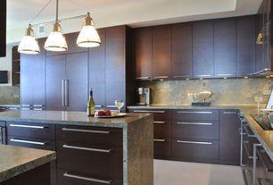 Contemporary Kitchen with can lights, full backsplash, flush light, Kitchen island, Travertine, Travertine counters, L-shaped