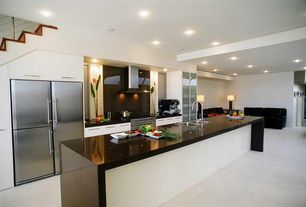 Contemporary Kitchen with Kitchen island, Solid Surface Countertop in Deep Anthracite, Flush, One-wall, European Cabinets