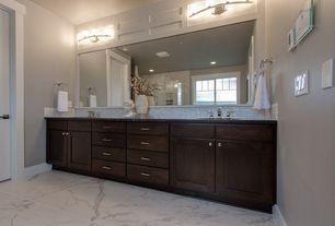 Contemporary Master Bathroom with Flush, Glass Tile, Undermount sink, complex marble tile floors, Master bathroom