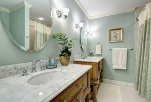Traditional Master Bathroom with Inset cabinets, Complex marble counters, Flat panel cabinets, tiled wall showerbath