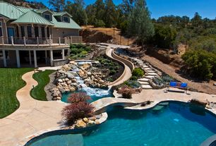 Rustic Swimming Pool with Pathway, Deck Railing, Concrete floors, Pool with hot tub, Water feature