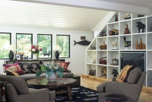 Eclectic Living Room with Painted wood panel ceiling, Built in entertainment center, Wood coffee table, Hardwood floors