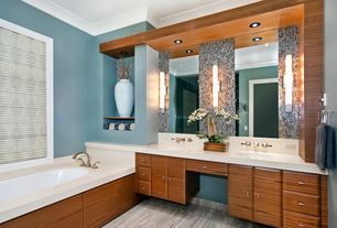 Contemporary Master Bathroom with Raised panel, Glass mosaic backsplash, Crown molding, Undermount sink, Wall sconce, Flush