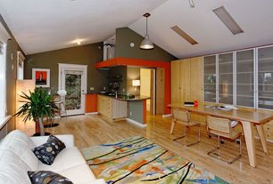 Contemporary Living Room with Hardwood floors, Casement, Pendant light, Skylight, Standard height