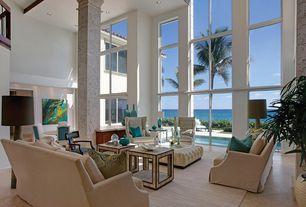 Modern Living Room with limestone tile floors, Balcony, High ceiling, Columns, Exposed beam