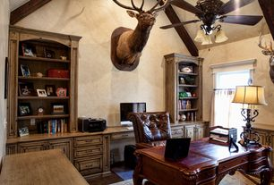 Country Home Office with Tufted leather chair, Office suite, Hutch cabinet, High ceiling, Hardwood floors, Built-in bookshelf