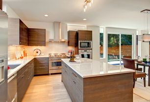 Contemporary Kitchen with Silestone-Quartz Countertop in Capri Limestone, Maple - Natural 3 1/4 in. Solid Hardwood Plank