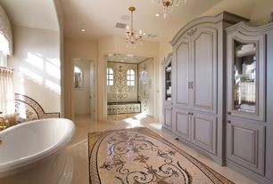 Traditional Master Bathroom with frameless showerdoor, Paint, ceramic tile floors, can lights, Tile mosaic rug, Shower