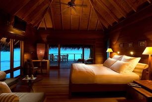 Tropical Master Bedroom with High ceiling, Exposed beam, Morning star forbidden city click strand bamboo, Built-in bookshelf