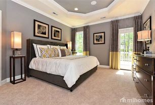 Contemporary Master Bedroom with Casement, Crown molding, Standard height, Paint, Tray ceiling, can lights, French doors