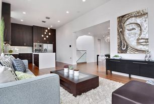 Modern Great Room with Pier 1 Carved Buddha Wall Panel, Avenue square coffee table, Hardwood floors, Pendant light