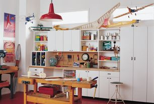 "Contemporary Garage with Sjoberg 62"" nordic plus workbench, Pendant light, Laminate floors, Built-in bookshelf"
