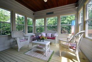 Country Porch with Outdoor wicker furniture, Screened porch, double-hung window, Wood ceiling