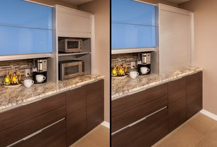 Modern Kitchen with Vinyl floors, Paint, Arizona tile, golden ridge granite countertop, Paint 1, Black lacquer cabinets
