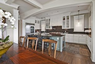 Traditional Kitchen with can lights, Multiple Refrigerators, Standard height, full backsplash, electric cooktop, Stone Tile