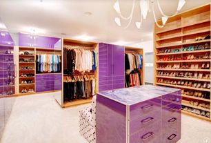 Eclectic Closet with Carpet, Skirted slipper chair, Paint 1, Shoe storage, Built-in bookshelf, Chandelier, Standard height