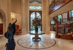 Mediterranean Entryway with Columns, Paint, stone tile floors, Balcony, High ceiling, Arched window, Wall sconce