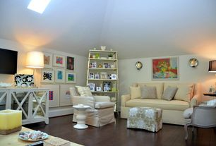 Eclectic Attic with High ceiling, Pottery Barn York Square Arm Slipcovered Loveseat, Skylight, Wall sconce, Hardwood floors