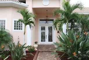Tropical Front Door with exterior tile floors, Pathway, French doors