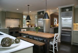 Contemporary Kitchen with Nuevo dome pendant lamp, Flush, Pendant light, U-shaped, Breakfast nook, Flat panel cabinets