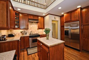 Craftsman Kitchen with Flush, Dark wood crown molding, Simple granite counters, Loft, Kitchen island, Flat panel cabinets