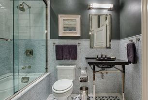 Traditional Full Bathroom with Simple marble counters, City base, tiled wall showerbath, Wall mounted sink, Chair rail