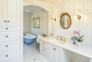 Traditional Master Bathroom with Master bathroom, Rayne acrylic clawfoot tub, Inset cabinets, Clawfoot, Flat panel cabinets