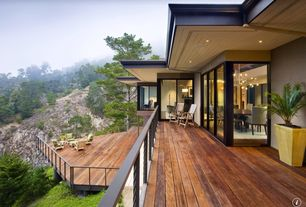 Contemporary Deck with specialty window, Deck Railing, sliding glass door