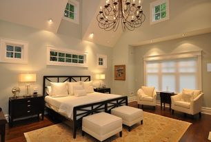 Traditional Master Bedroom with Hardwood floors, High ceiling, Chandelier, can lights, Hunter douglas duette honeycomb shades