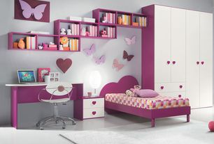 Contemporary Kids Bedroom with Standard height, Concrete floors, Cameretta lara, Built-in bookshelf, no bedroom feature