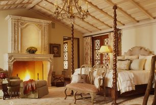 Rustic Master Bedroom with Standard height, Fireplace, Exposed beam, can lights, Chandelier, Hardwood floors, Casement