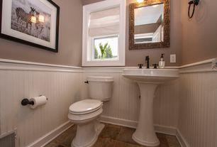 Cottage Powder Room with Wainscotting, Powder room, Pedestal sink, Paintable white beadboard, High ceiling, slate tile floors