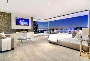 Modern Master Bedroom with EcoSmart Firebox - Hi-Temp Black, Gillian Hollywood Notched Corner Marble Gold Leaf Side Table