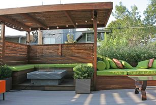 Contemporary Deck with Built-in bench seating, Patio cover, Coral Coast Valencia Outdoor Toss Pillow - 20 x 20 in., Fence