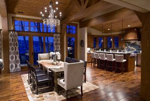 Contemporary Great Room with Chandelier, Antique black iron and crystal chandelier 9842, French doors, Hardwood floors