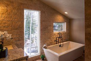 Rustic Master Bathroom with Arizona tile ivory split 3d mesh mount stack, Hardwood floors, Freestanding, Undermount sink