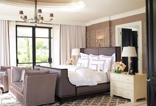 Traditional Master Bedroom with six panel door, Chandelier, stone tile floors, Paint, Jar designs 'claybourne' daybed