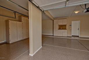 Traditional Garage with Concrete floors, simple granite floors, Exposed beam, Built-in bookshelf, Columns, flush light