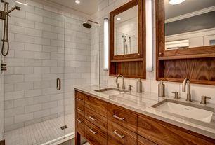 Contemporary Master Bathroom with flush light, frameless showerdoor, Flush, European Cabinets, Double sink, Master bathroom