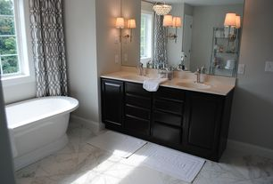 Contemporary Master Bathroom with Master bathroom, Corian counters, Pendant light, Inset cabinets, Undermount sink
