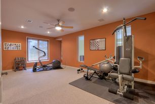Traditional Home Gym with Ceiling fan, Carpet