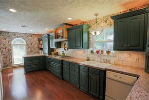 Country Kitchen with Arched window, interior wallpaper, Built-in bookshelf, Hardwood floors, flush light